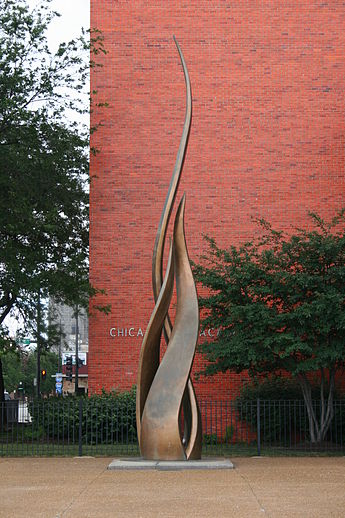 1961 sculpture in front of the Fire Academy, by Egon Weiner's , near where the O'Leary cottage once stood and the Great Chicago Fire began.