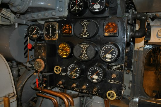 The engine panel in the engine room of the USS Pampanito.