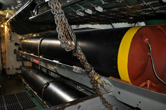 A torpedo inside the torpedo room of the USS Pampanito.