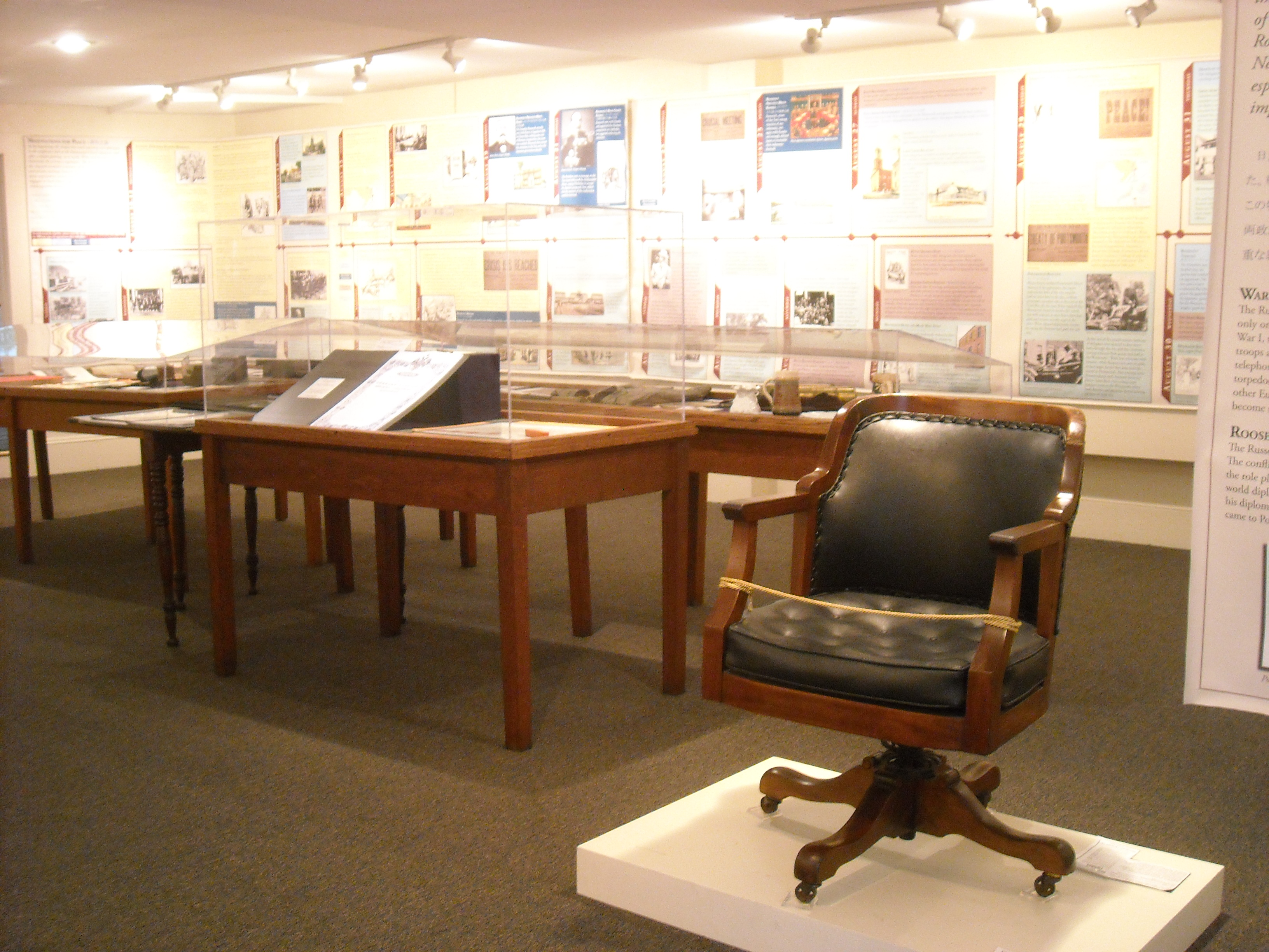 The Treaty exhibit includes the chair Baron Komura occupied during the negotiations at the Shipyard.