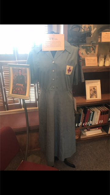 American Red Cross nurses participated in the care of servicemen during the war. These are the dresses that they would wear.