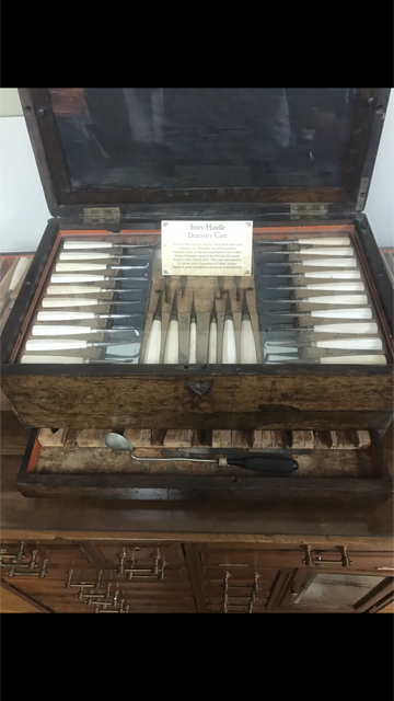 This is the Ivory Handle Dentistry Case. It shows different instruments that the dentist would use.