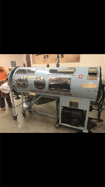 This is called the Iron Lung. If you encountered Polio you would have to live in this until your lungs were strong enough to function on their own. Some lived here all of their lives.