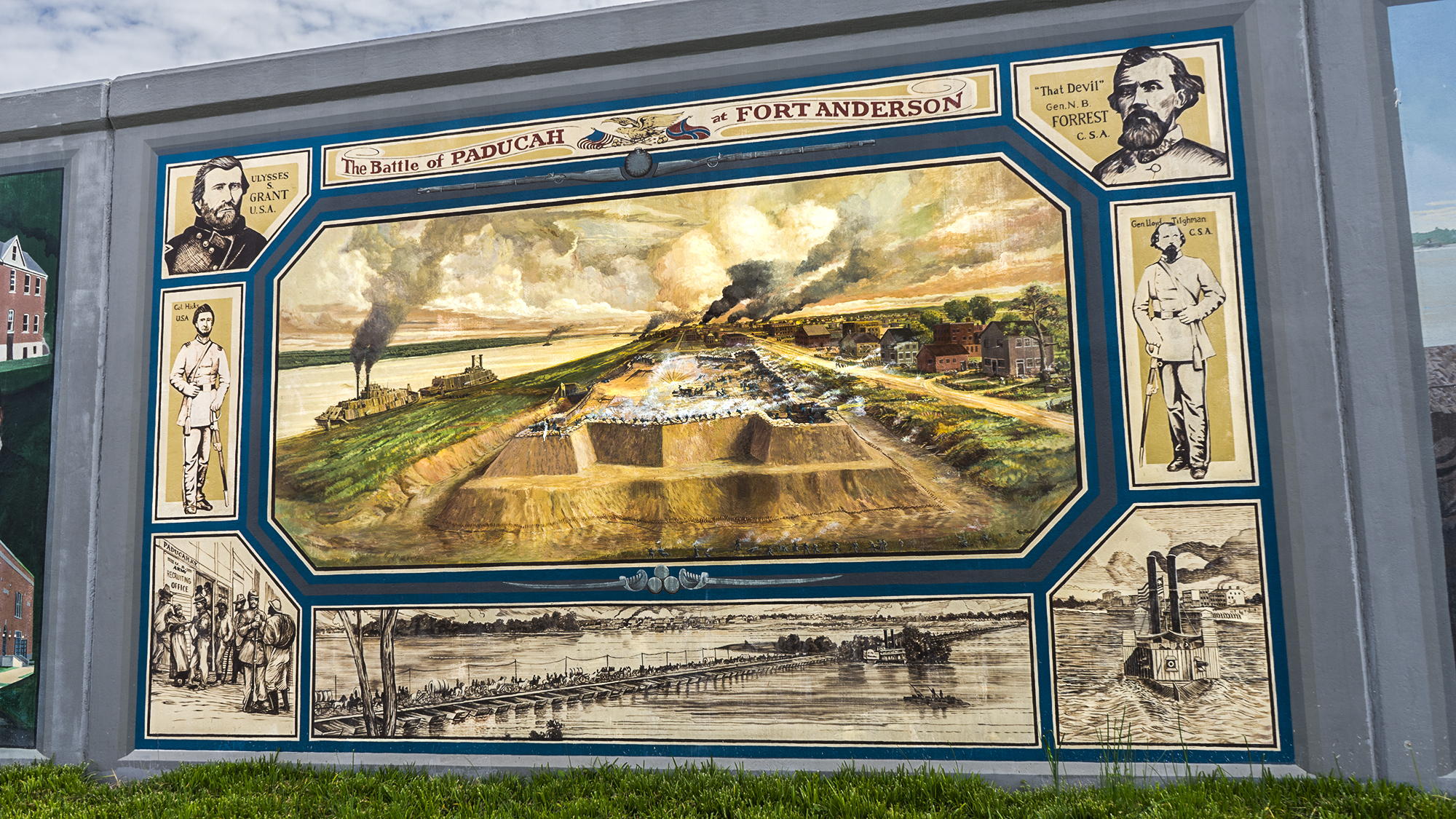 The city's flood wall murals include a history of the battle.