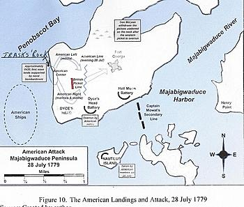 Map showing American landings and attack on August 28, 1779