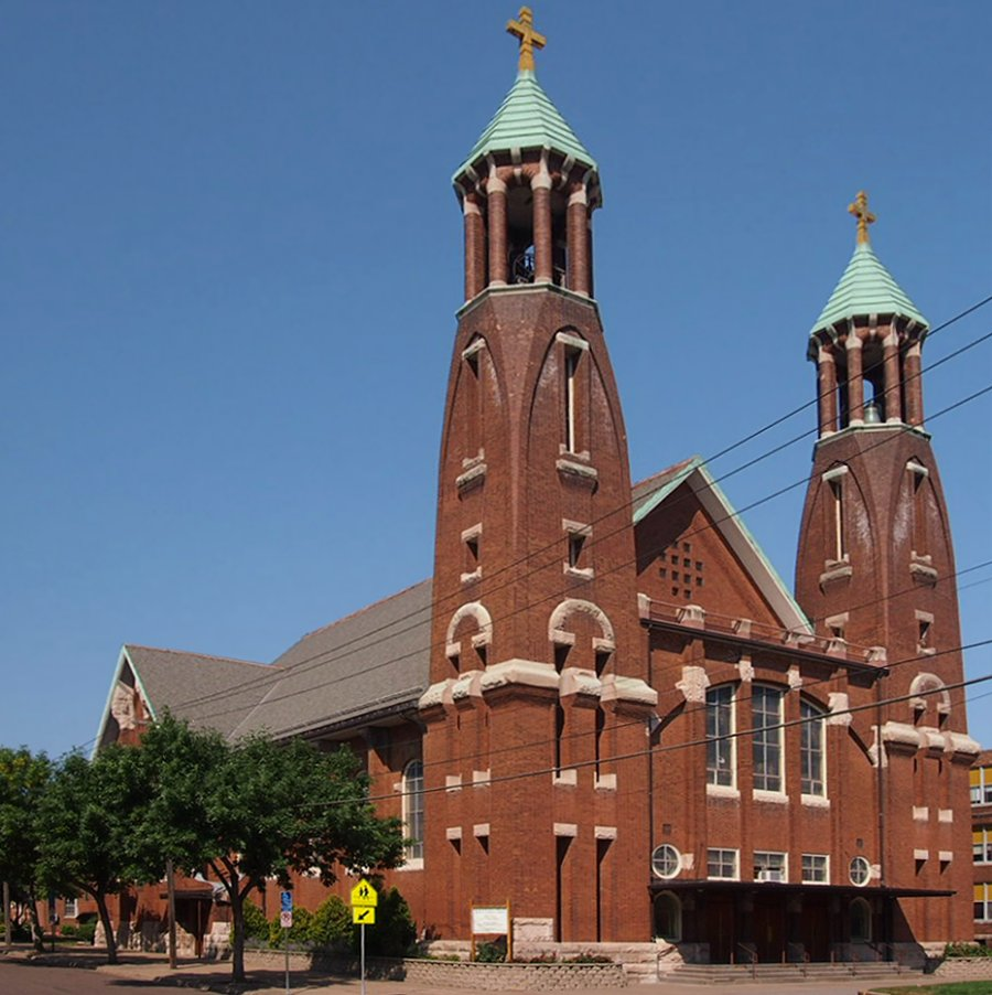 The Church of St. Bernard was fully completed in 1914 and is one of the earliest buildings in St. Paul to use steel framing.