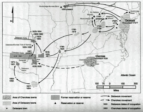 This is a map that shows some of the different routes that bands of Delaware traveled on during the removal process