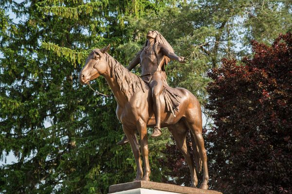 """This is a photograph of the """"Appeal to the Great Spirit"""" statue in Muncie, Indiana."""