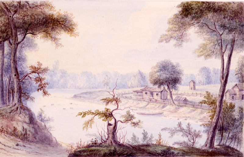Deaf Man's Village, near Peru, Indiana, 1839. Watercolor by George Winter.