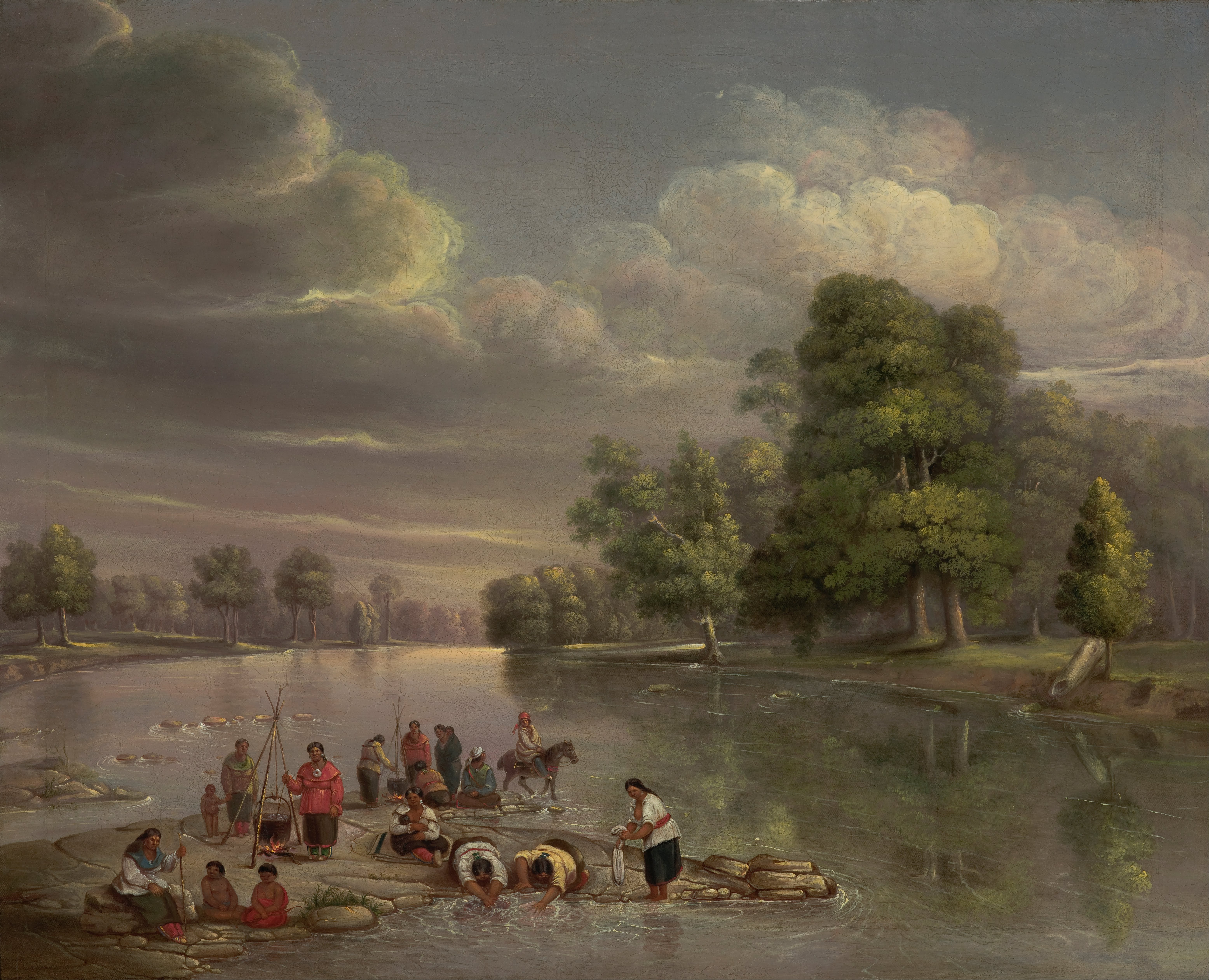 """Scene on the Wabash, 1848"" by George Winter Depicts Potawatomi people cooking and washing on the Wabash river, near Logansport."