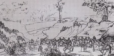 Compare Winter's 1848 painting to this sketch he made in 1838 depicting the removal of Potawatomi people from Indiana, see http://www.wiskigeamatyuk.com/index_start.html, accessed May 7, 2017.