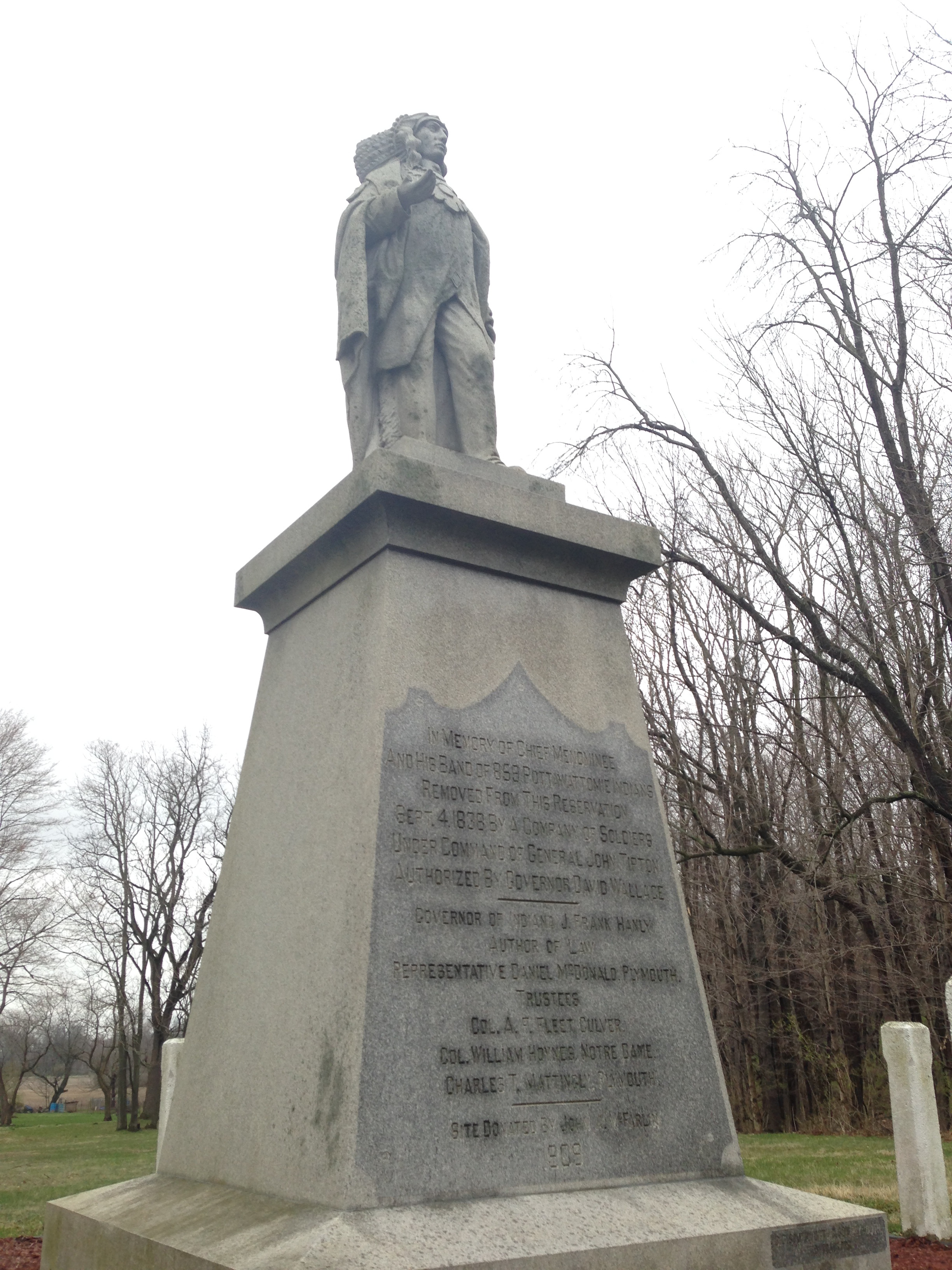 The statue of Chief Menominee at Twin Lakes, IN