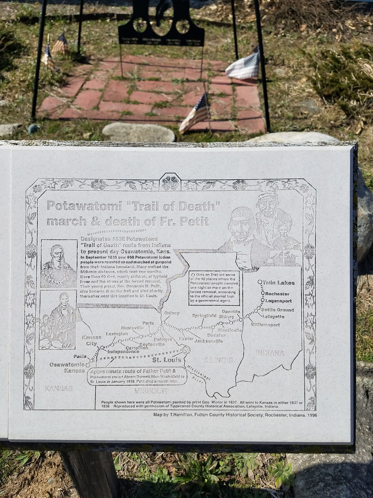 This stone plaque provides a map which overviews the Trail of Death from start to end.