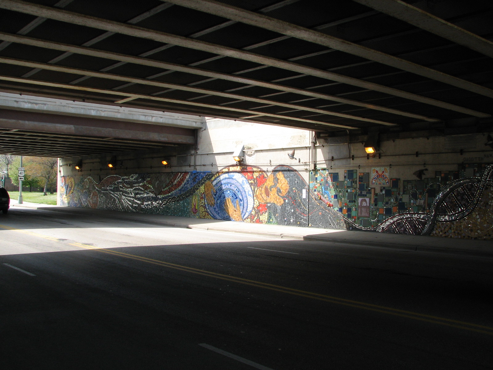 "One side of the ""Indian Land Dancing"" mural, picture taken from opposite side of the underpass. Photo Credit: Jim Bartholomew, 2010."