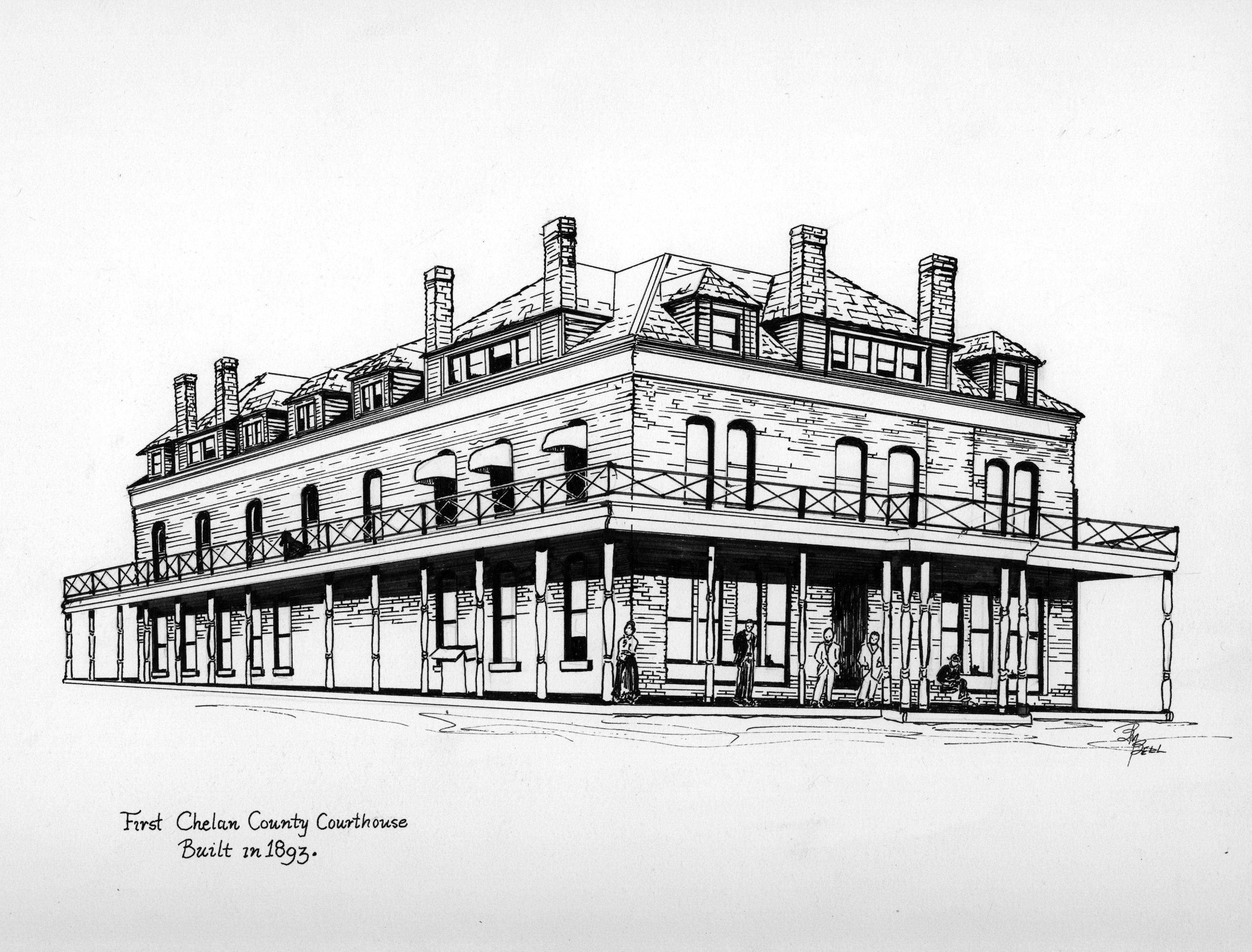 Drawing of the First Chelan County Courthouse built in 1893 as the Clark Hotel.