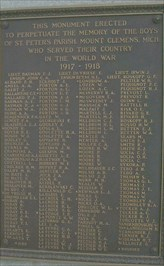 Bronze plaque with the names of those that fought in World War I