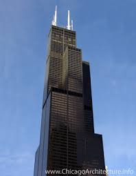The Sears Tower (now Willis Tower) looks quite different from the Hancock Tower.