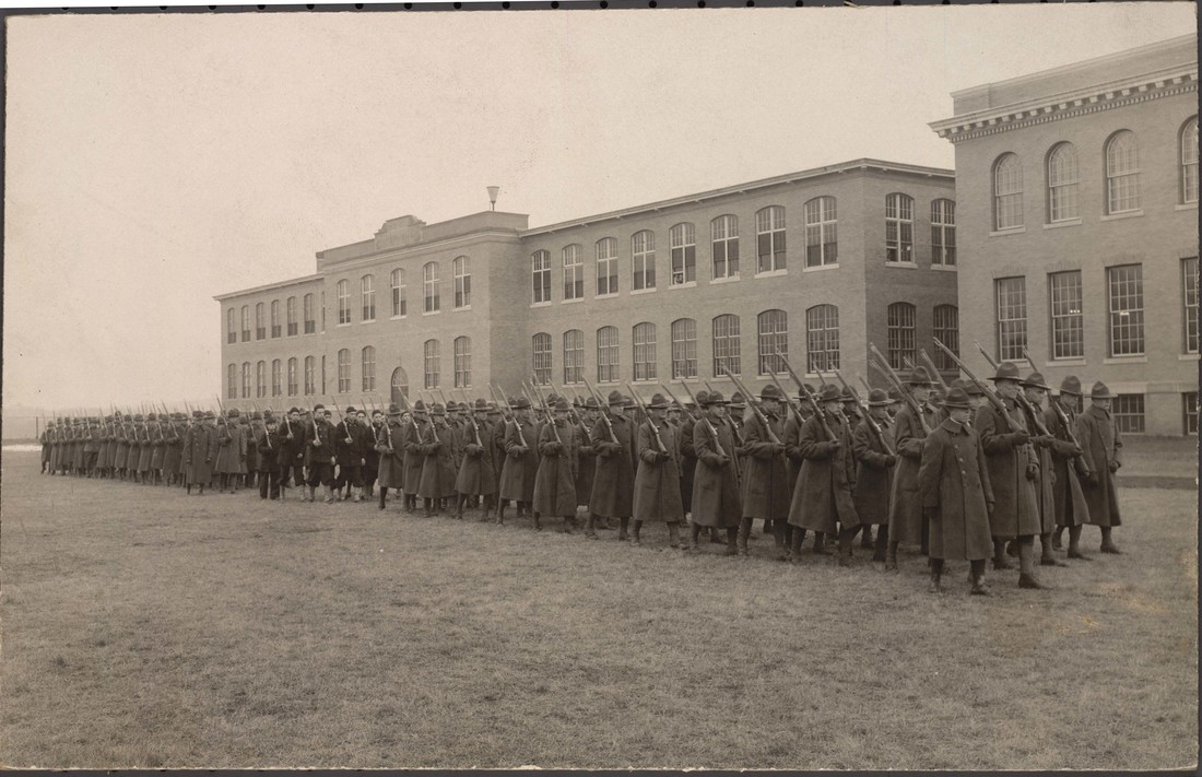 Troops train on the school's grounds in 1918.