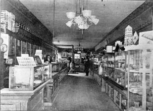 Interior view of J.H. Clinton's Drug Store.