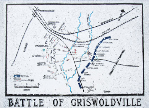 An map showing the positions of Union and Confederate forces during the Battle of Griswoldville