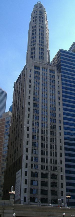 """The """"pencil thin"""" Mather Tower on Wacker Drive."""