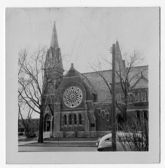 A street view of the exterior of First Presbyterian Church in Independence, Missouri, where Harry S. Truman first met Bess Wallace. Ca. 1948