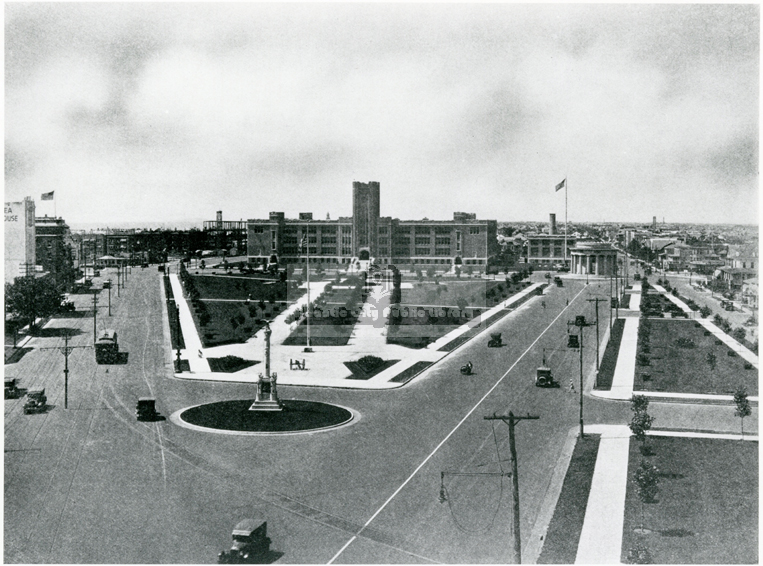 1920s. This view of Chelsea Parkway shows the World War I Memorial in the distance, as well as the Atlantic City High School, which was opened in 1923. The Soldiers and Sailors Monument is in the foreground.(H009.ChelseaPark001 Alfred M. Heston Colle