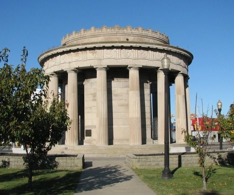 Outside of World War I Greek style monument made of Indiana limestone.