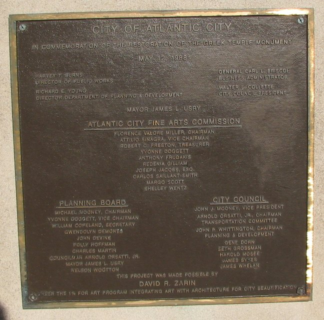 1988 bronze plaque commemorating the re-dedication of the monument and everybody involve.