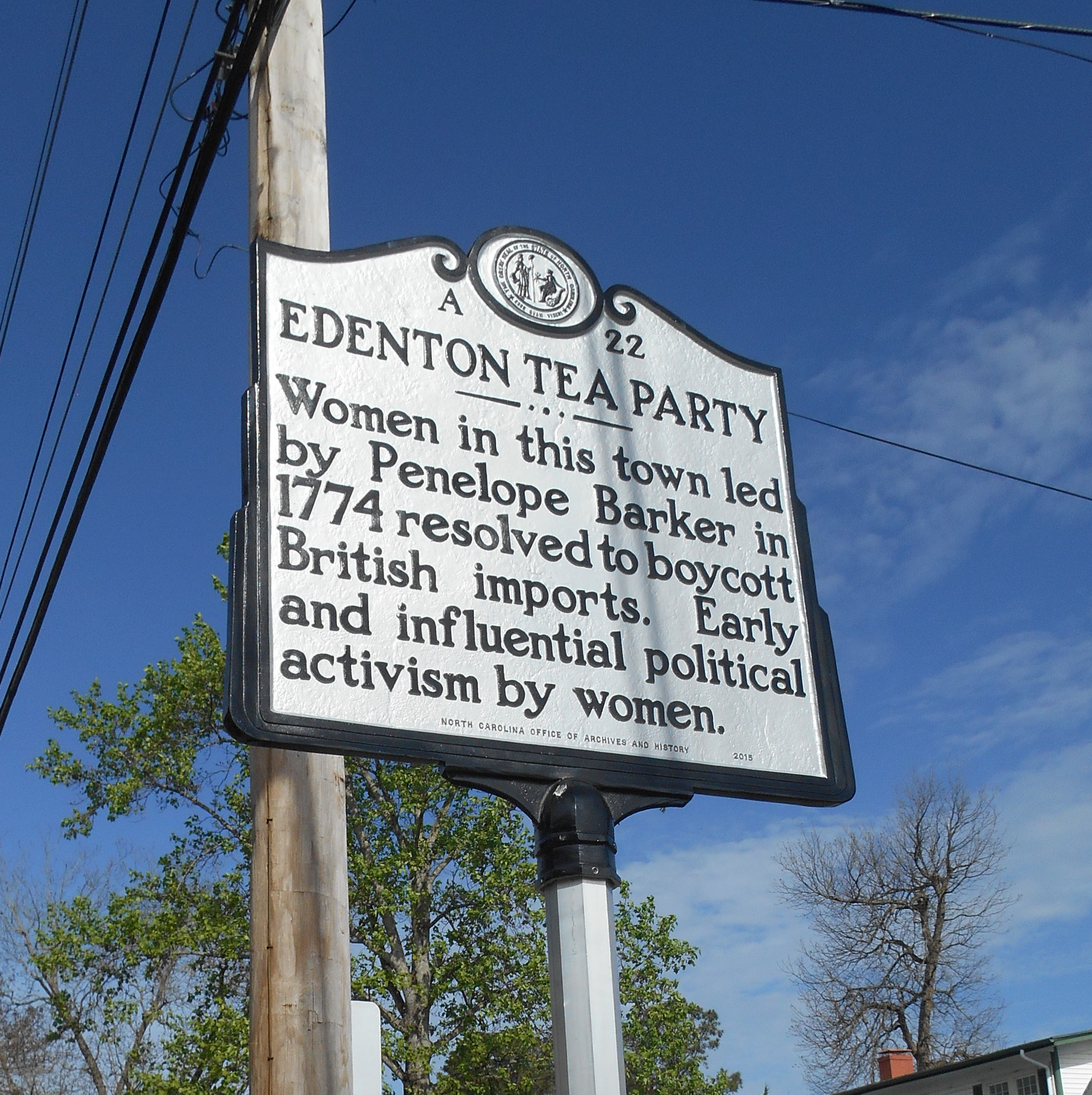 An image of the Edenton Tea Party historical marker.