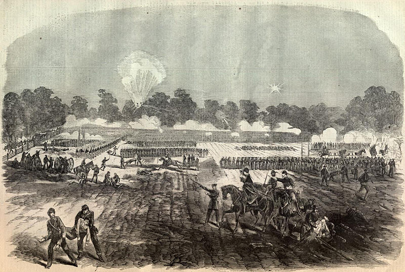 Sketch of the battle by William Hall that appeared in the American political magazine, Harper's Weekly, on May 16, 1863.