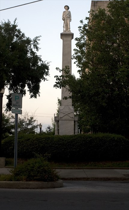 This is the Lauderdale County Civil War Memorial. This monument has a single Confederate solider on top.