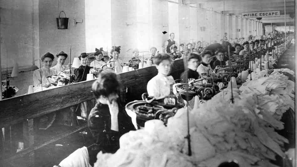 Young female factory workers.