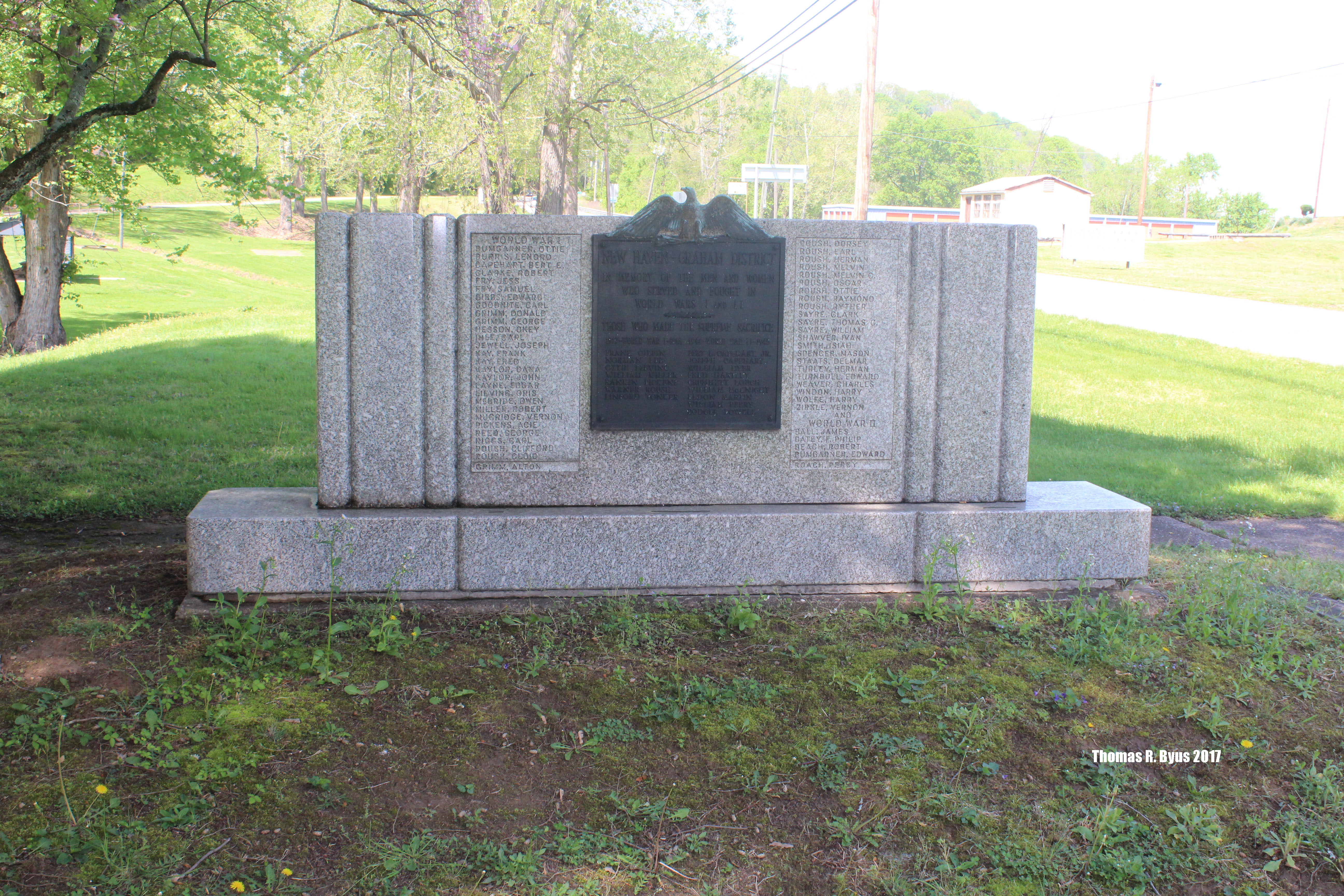 View of the front of the monument. Dedication plaque doesn't have a date, however newspaper records indicate it was placed in 1947.