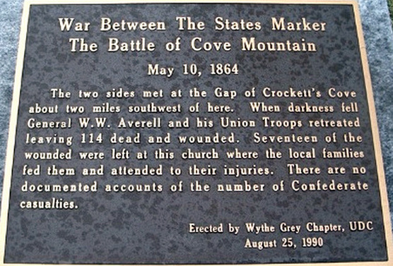 This historic marker for the Battle of Cove Mountain is located near Crockett's Cove Presbyterian Church.