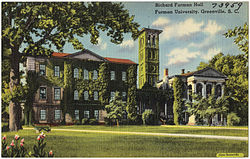 A postcard depicting old Furman Universtity