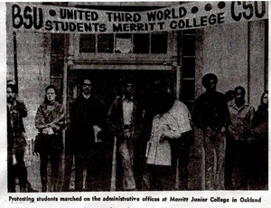 Black and Chicano students protesting the closure of Merritt College