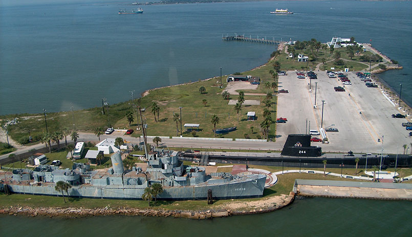 An aerial view of the Cavalla next to the USS Stewart, another ship currently at the park.