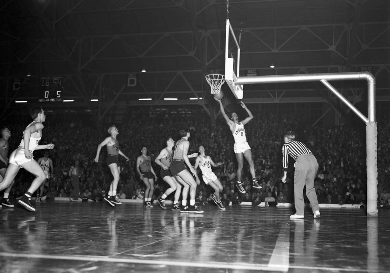 Bill Garret in 1950 vs. Illinois University in the Old Fieldhouse where the Hoosiers played basketball prior to Goldstein Fieldhouse and Assembly Hall.