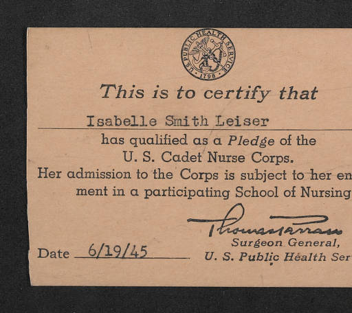 U.S. Cadet Nurse Corps Pledge Card