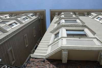 A close-up view of the apartments