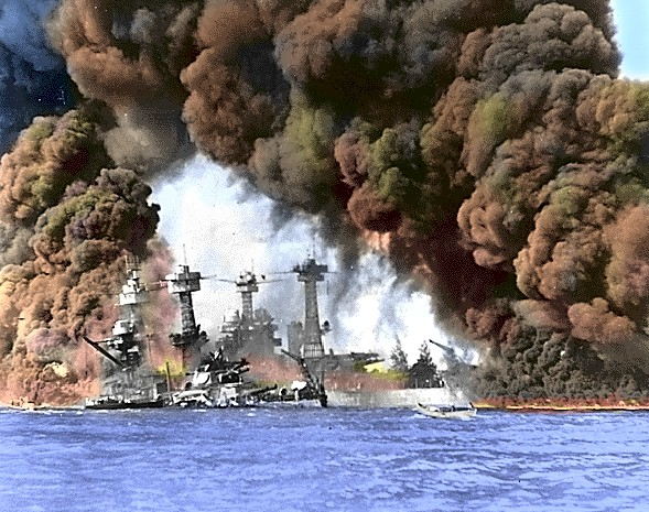 Picture of the USS West Virginia and the USS Nevada after the Japanese attack on Pearl harbor.