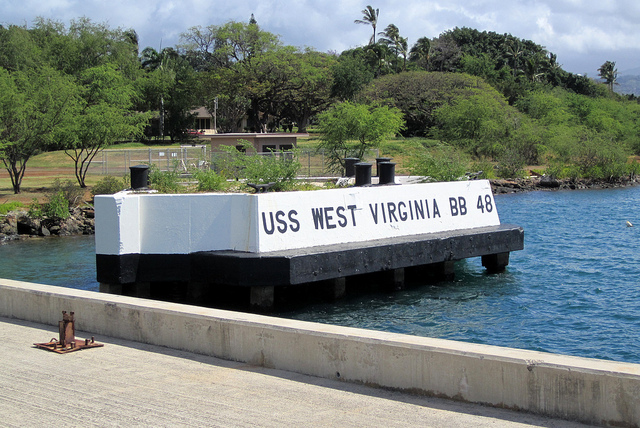 The moorings where the USS West Virginia was the day of the Japanese attack on Pearl harbor.