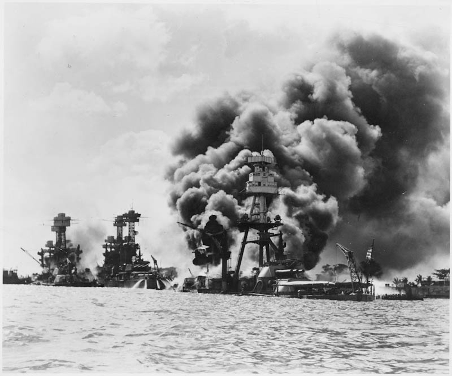 The USS West Virginia is in the far left of the picture