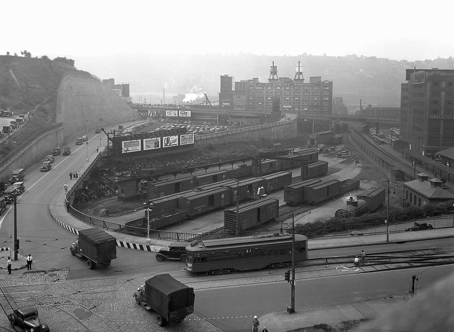 A 1927 image of the Try Street Terminal.  It's the building in the background with the two water tanks sitting atop it.