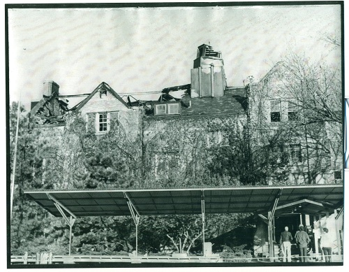 An image of the exterior of the Union after the fire. The roof cave-in is visible in the top left.