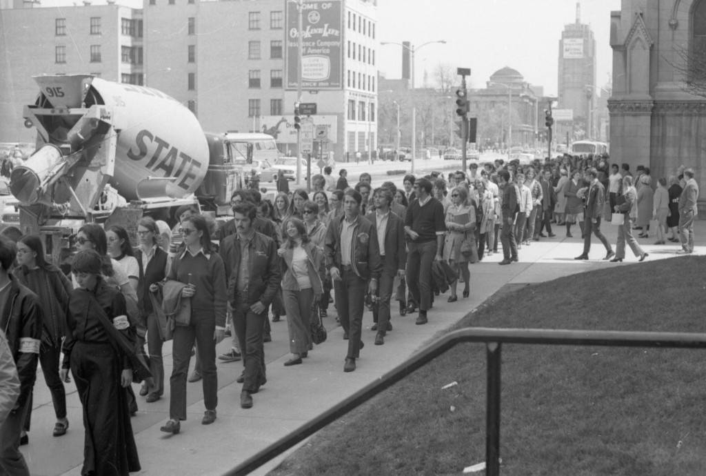 The Kent State protest march travels west on Wisconsin Avenue, 1970