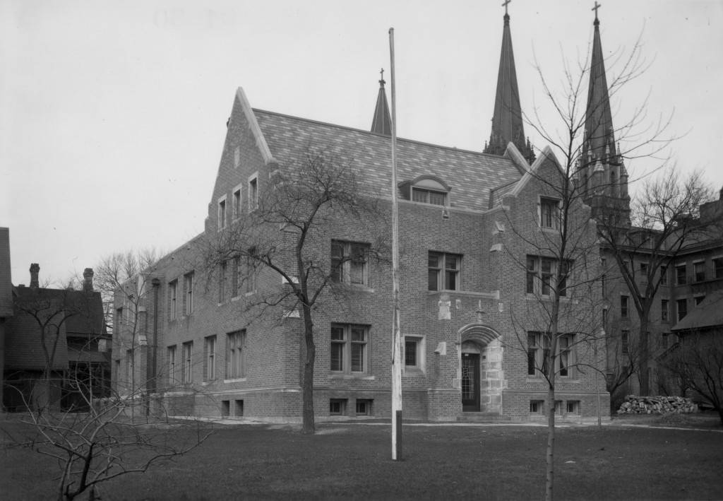 "Eastern and southern facades of O'Hara Hall, circa 1945 (""Department of Special Collections and University Archives, Marquette University Libraries, MUA_011626)"