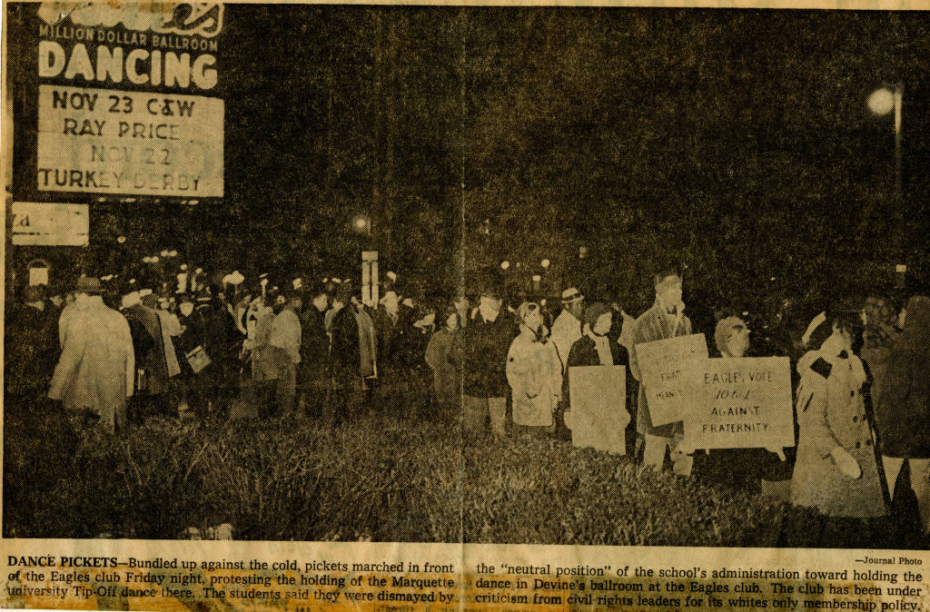 "Community members picket the Eagles Club, 1966 (""Department of Special Collections and University Archives, Marquette University Libraries, MUA_013794)"