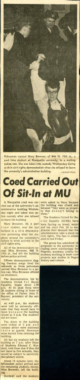 Milwaukee Sentinel report about a student sit-in at O'Hara Hall on April 4, 1968